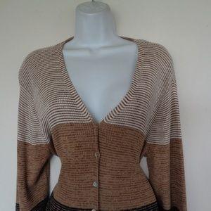 Liz Claiborne Brown & White Sweater Large